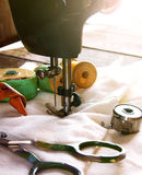 The sewing machine and tools. Stock Images