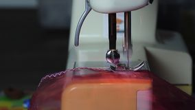 Sewing machine at work stock video