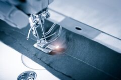 Free Sewing Machine Working Part With Cloth. Technology, Manufacturing, Handcraft Concept Stock Image - 178934881