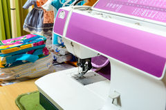 Sewing machine in the workshop of a seamstress Royalty Free Stock Image