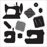 Sewing machines kit black silhouette vector Royalty Free Stock Photos