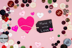 Sewing - Made with Love with buttons Royalty Free Stock Image