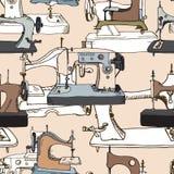 Sewing mashines, seamless pattern. Hand drawn illustration Royalty Free Stock Image