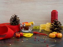 Sewing materials in an autumn setting with pine cones and pumkins.