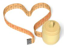 Sewing meter. The three-dimensional image of sewing meter on a white background. The tape of meter is laid out in the form of heart Royalty Free Stock Photo