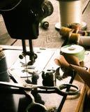 sewing Naaimachine en hulpmiddelen royalty-vrije stock foto