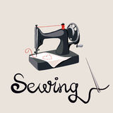 Sewing, needle and lettering, sewing machine Royalty Free Stock Photo