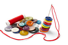 Sewing needle and string Royalty Free Stock Photography