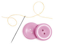 Sewing needle and thread with buttons Stock Images