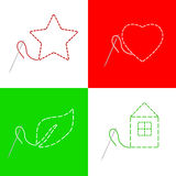 Sewing needle thread house red heart star green leaf frame illustration Stock Images