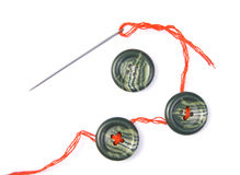 Free Sewing Needle With Thread And Buttons Royalty Free Stock Image - 13842046