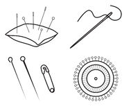 Sewing needles and pins. Set of sewing needles and pins isolated on white background, Pincushion, needle with tread, pins and safety pin, Thin line vector icon Royalty Free Stock Photo