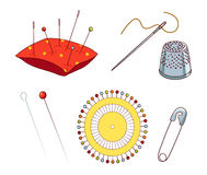 Sewing needles and pins. Set of sewing needles and pins isolated on white background, Pincushion, needle with tread, pins and safety pin, vector icon Royalty Free Stock Photography