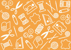 Sewing and needlework. Orange background with objects of sewing and needlework Stock Photography