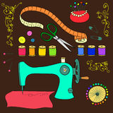 Sewing and needlework background. Vector Sewing and needlework background Royalty Free Stock Image