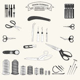 0615_4 sewing and needlework. Desigen elements sewing and needlework set vector collection Stock Photos