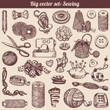 Sewing And Needlework Doodles Collection. Vector Stock Photo