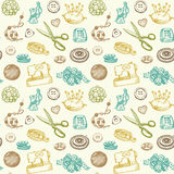 Sewing And Needlework Seamless Pattern Vector. Sewing And Needlework Doodles Seamless Pattern Vector Royalty Free Stock Photography