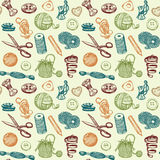 Sewing And Needlework Seamless Pattern Vector. Sewing And Needlework Doodles Seamless Pattern Vector Royalty Free Stock Image