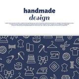 Sewing, needlework, handwork design. Sewing, needlework, handwork banner design with line icons. Vector illustration Stock Photography