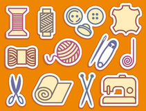 Sewing and needlework icons Stock Photos