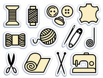 Sewing and needlework icons Royalty Free Stock Photos