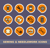 Sewing and needlework icons Stock Images