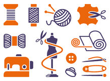Sewing and needlework icons. Two-coloured symbols Royalty Free Stock Images