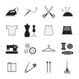 Sewing and needlework icons. The Sewing and needlework icons Royalty Free Stock Photo