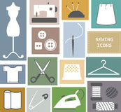 Sewing and needlework icons. The Sewing and needlework icons Stock Photos