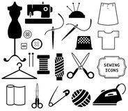 Sewing and needlework icons. The Sewing and needlework icons Stock Image