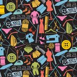 Sewing and needlework icons. Background pattern with sewing and needlework icons Stock Photo