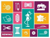 Sewing and needlework icons in flat style stock illustration