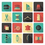 Sewing and needlework icons Stock Photography