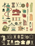 Sewing and needlework icons Royalty Free Stock Photo