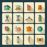 Sewing and needlework icons Royalty Free Stock Photography