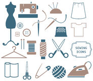 Sewing and needlework icons. Set of Sewing and needlework icons Stock Images