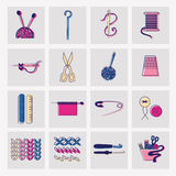 Sewing and needlework icons. Set of sewing and needlework colorful icons Stock Photos