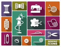 Sewing and needlework icons. In a retro style Royalty Free Stock Photography