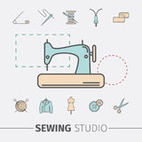 Sewing and needlework icons. Sewing studio vector. Sewing and needlework icons. Sewing studio vector design Stock Photography