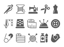 Sewing and needlework icons. Sewing and needlework vector icons Stock Image