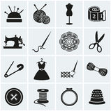 Sewing and needlework icons. Vector set. Royalty Free Stock Photography
