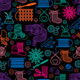 Sewing and needlework seamless pattern. Background and embroidery, button and handmade. Vector illustration Stock Images