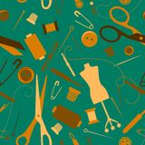 Sewing and needlework seamless pattern. With scattered needles, cotton thimbles pins scissors and a dress makers dummy in square format Stock Photography