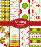 Sewing and needlework seamless patterns. Vector set. Royalty Free Stock Image