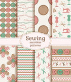 Sewing and needlework seamless patterns. Vector set. Set of sewing and needlework seamless patterns in pastel colors. Vector illustration Royalty Free Stock Photo
