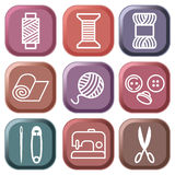 Sewing and needlework symbols. Colour buttons. Sewing and needlework symbols Stock Photography