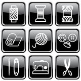 Sewing and needlework symbols. Brilliant black buttons. Sewing and needlework symbols Stock Images