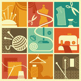 Sewing and needlework symbols Stock Image