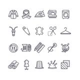 Sewing and Needlework Tool Black Thin Line Icon Set. Vector. Sewing and Needlework Tool Black Thin Line Icon Set Include of Cloth, Iron, Pin and Button. Vector Royalty Free Stock Image
